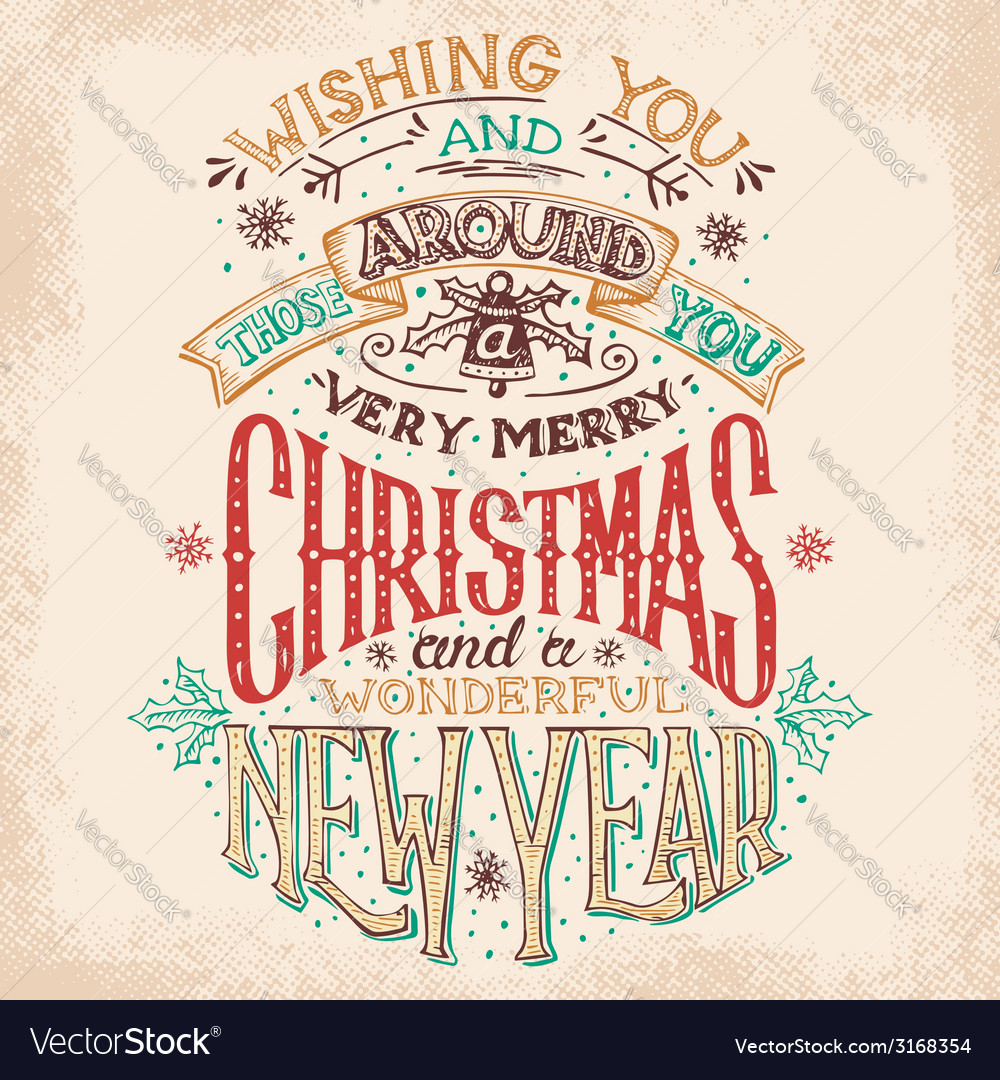 Christmas and new year hand lettering vector | Price: 3 Credit (USD $3)