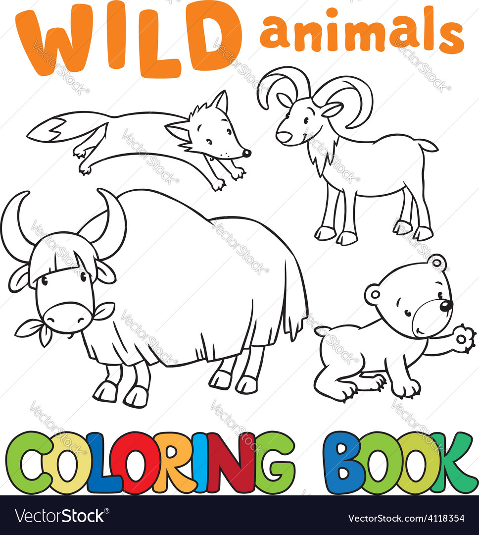 Coloring book with wild animals vector | Price: 1 Credit (USD $1)