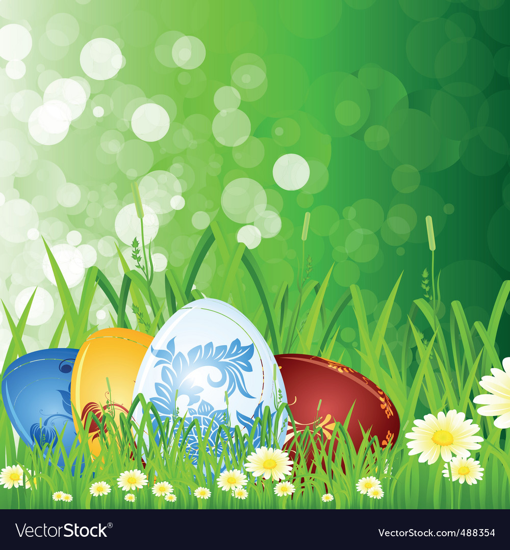 Easter eggs in the grass vector | Price: 3 Credit (USD $3)