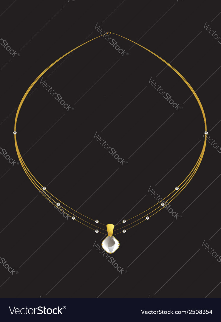 Elegant gold diamond necklace vector | Price: 1 Credit (USD $1)