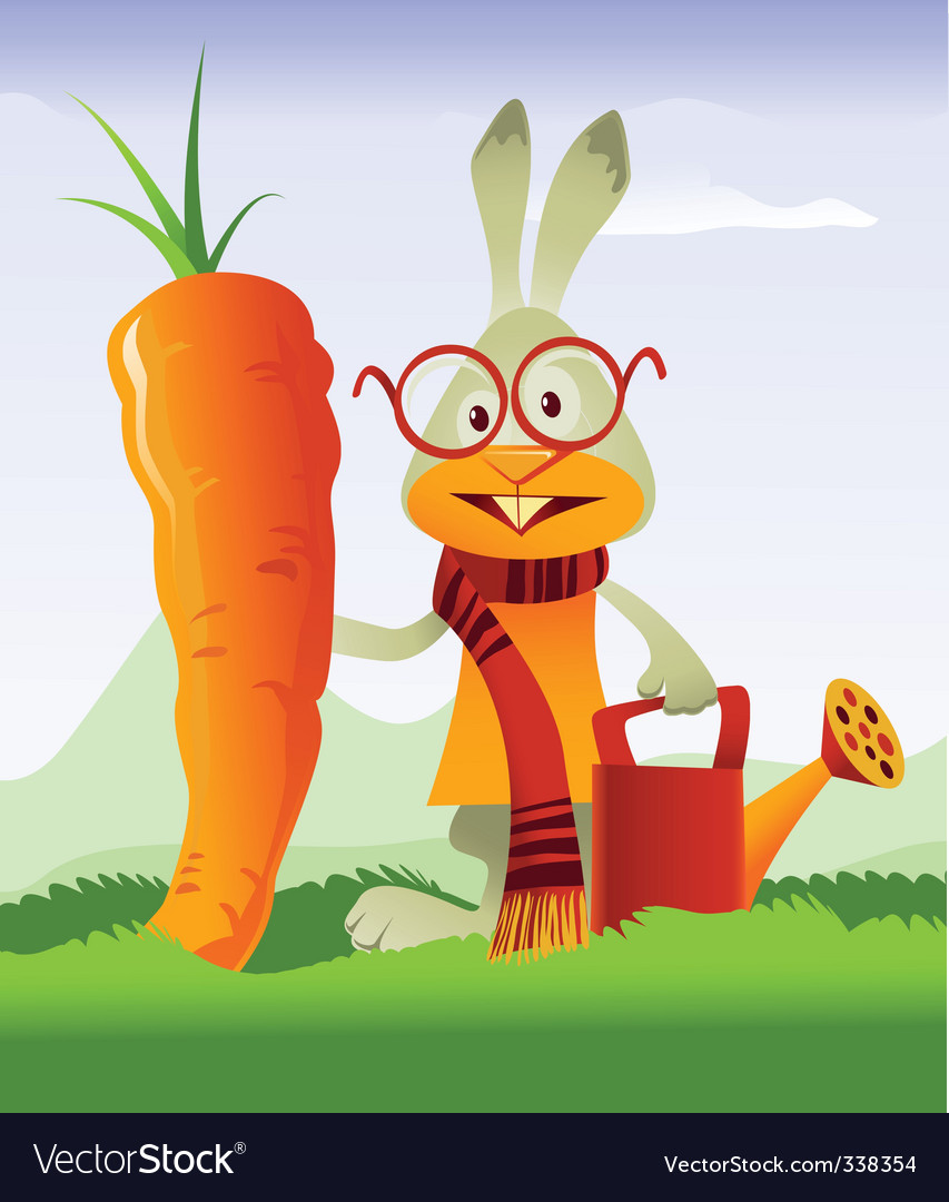 Happy rabbit and giant carrot vector | Price: 3 Credit (USD $3)