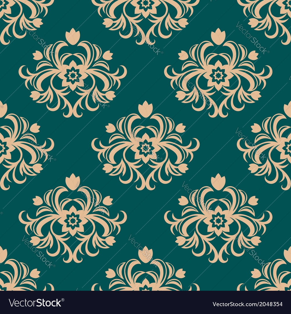 Repeat floral motifs in an arabesque pattern vector | Price: 1 Credit (USD $1)