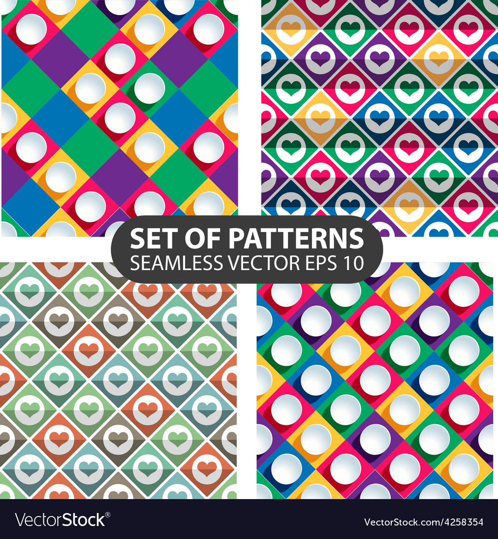 Set of 4 abstract seamless patterns vector | Price: 1 Credit (USD $1)