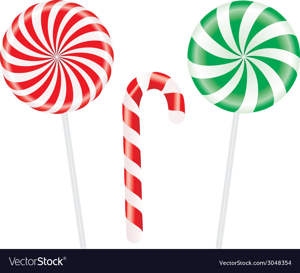 Set of colorful spiral candies lollipops vector | Price: 1 Credit (USD $1)