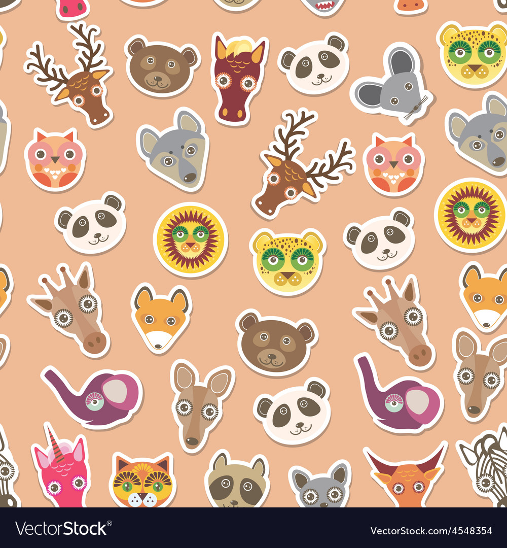 Set of funny animals muzzle seamless pattern pink vector | Price: 1 Credit (USD $1)