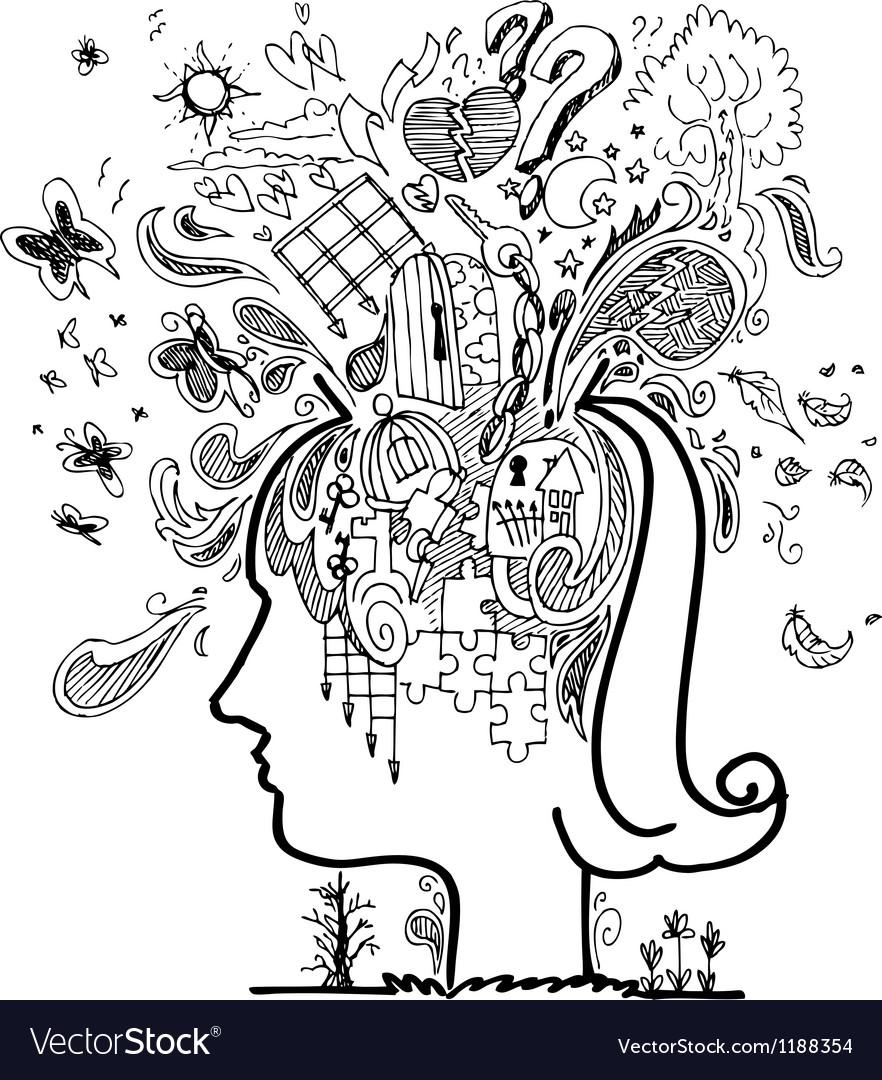 Sketch doodles of confused woman vector | Price: 1 Credit (USD $1)