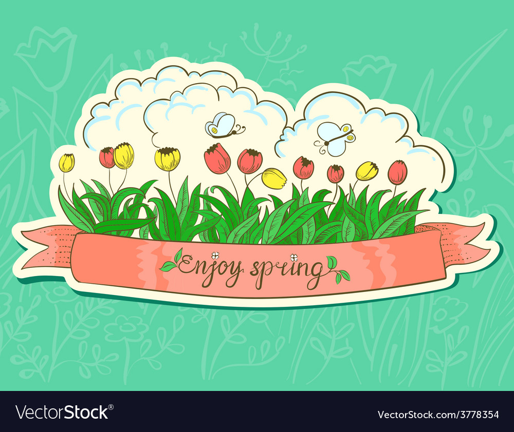 Spring sticker vector | Price: 1 Credit (USD $1)