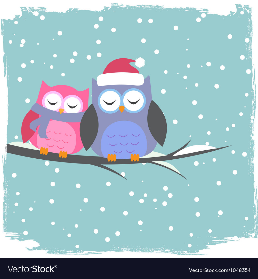 Winter card with cute owls vector | Price: 1 Credit (USD $1)