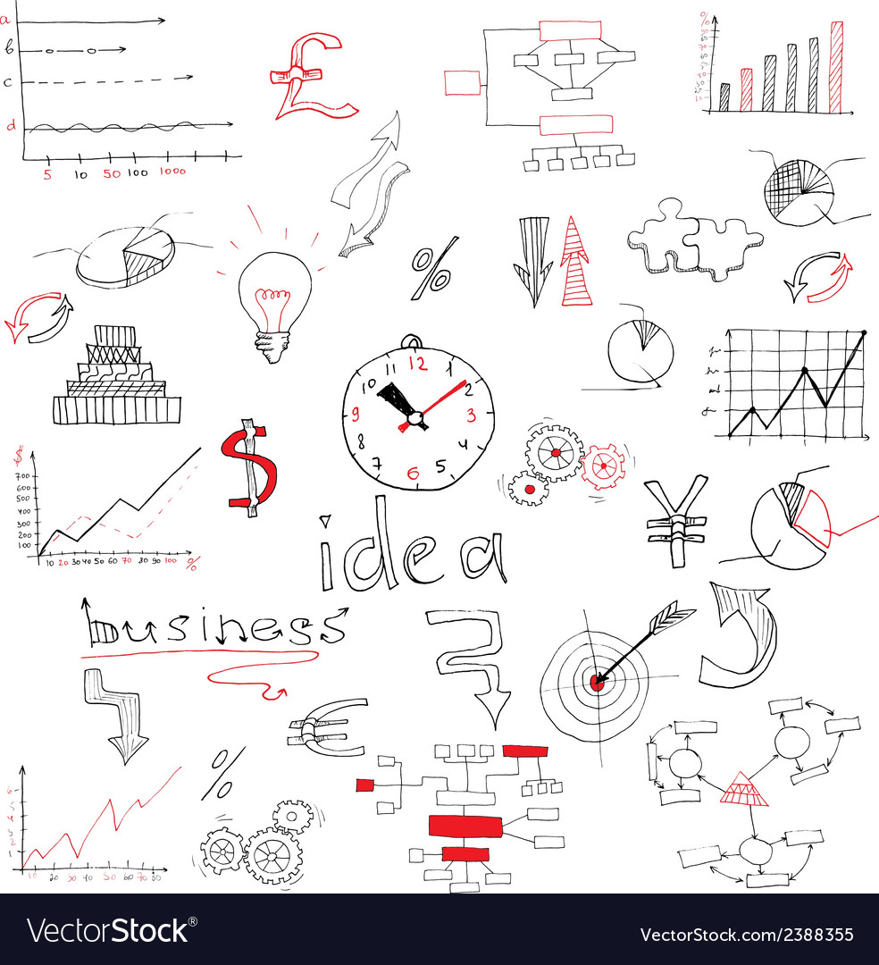 Business sketch colored vector | Price: 1 Credit (USD $1)