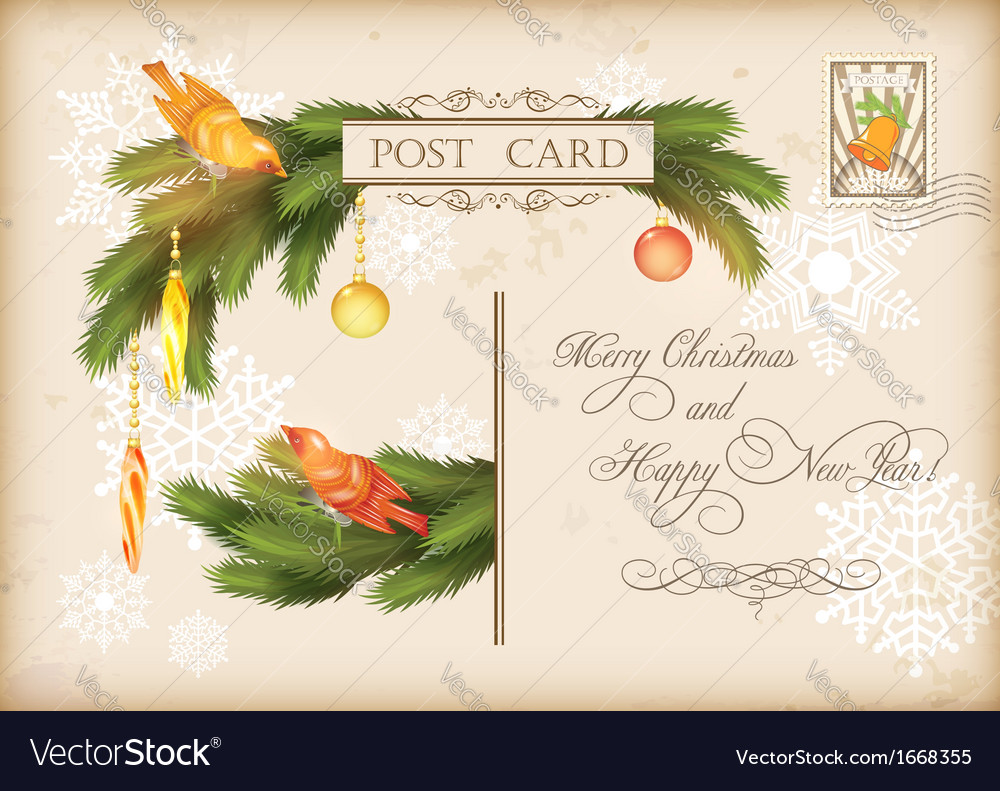 Christmas vintage holiday postcard vector | Price: 3 Credit (USD $3)
