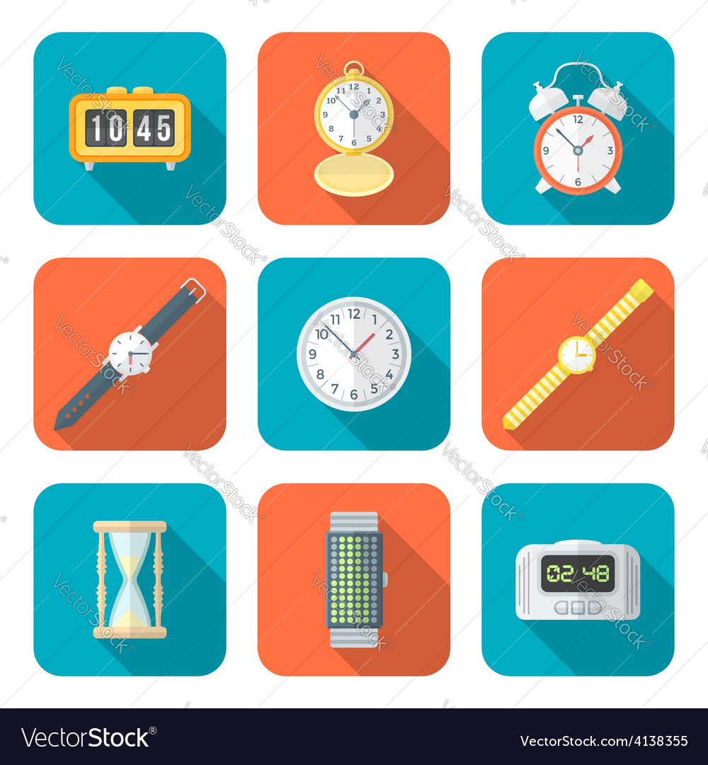 Colored flat style various watches clocks icons vector | Price: 1 Credit (USD $1)