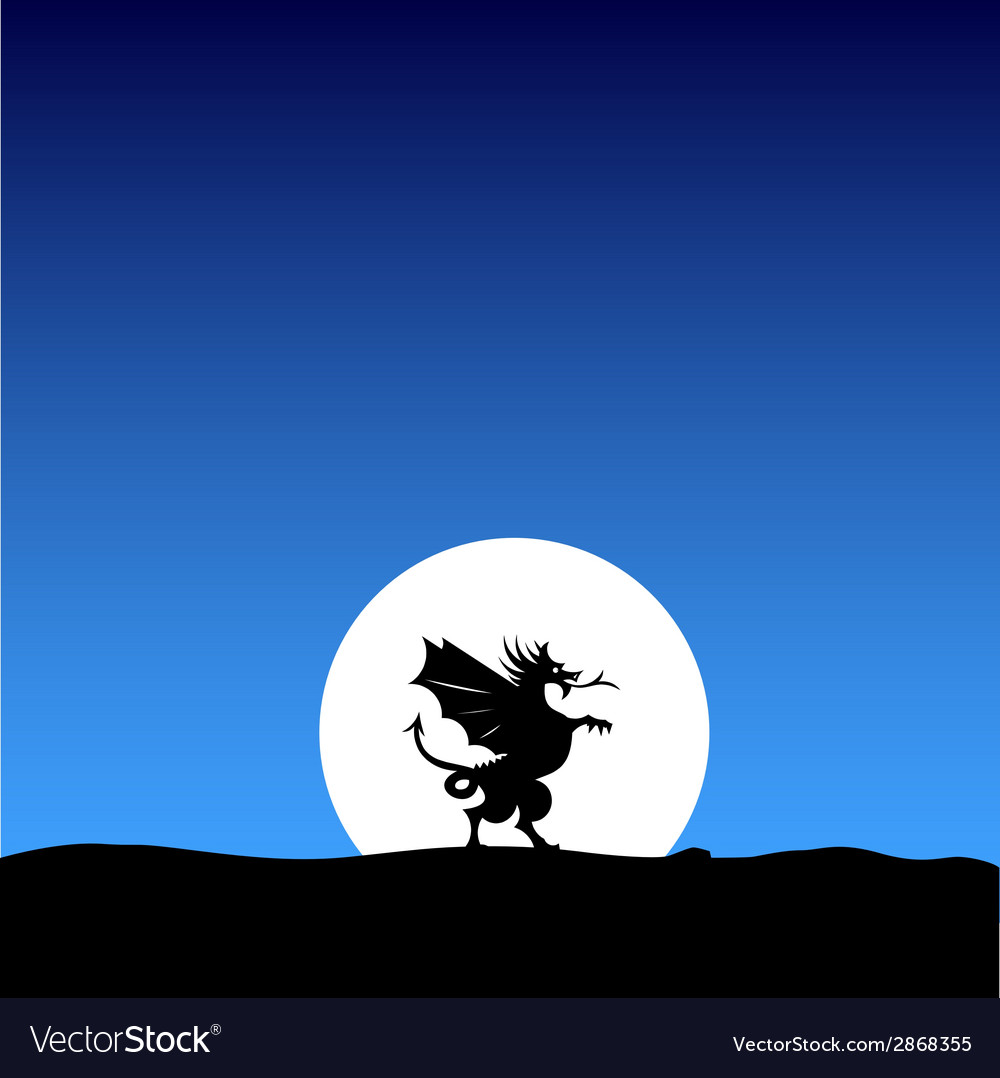 Dragon silhouette on the moon background vector | Price: 1 Credit (USD $1)