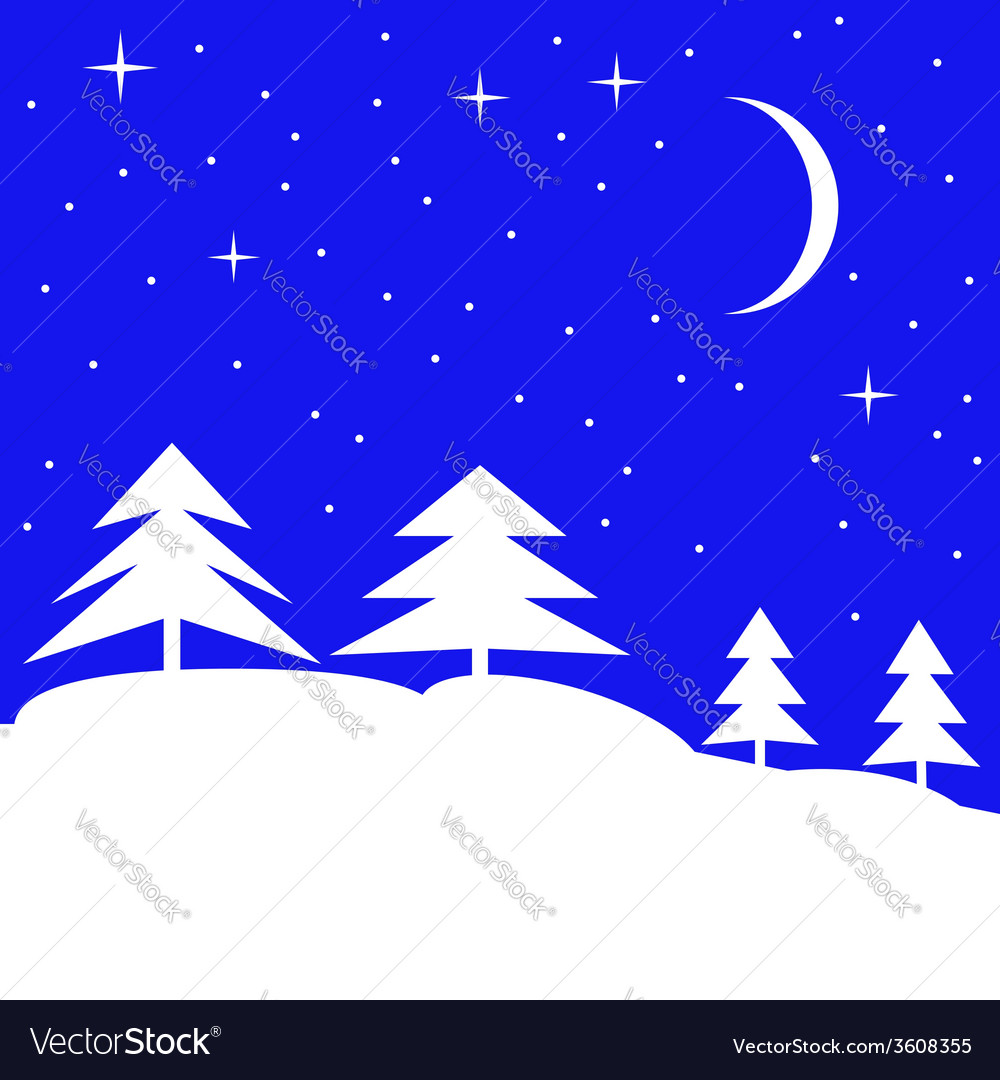 Forest landscape in winter vector | Price: 1 Credit (USD $1)