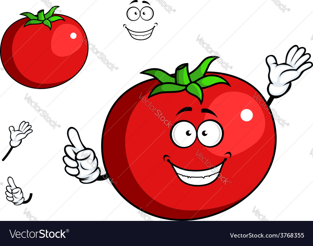 Happy waving tomato with a cute smile vector | Price: 1 Credit (USD $1)