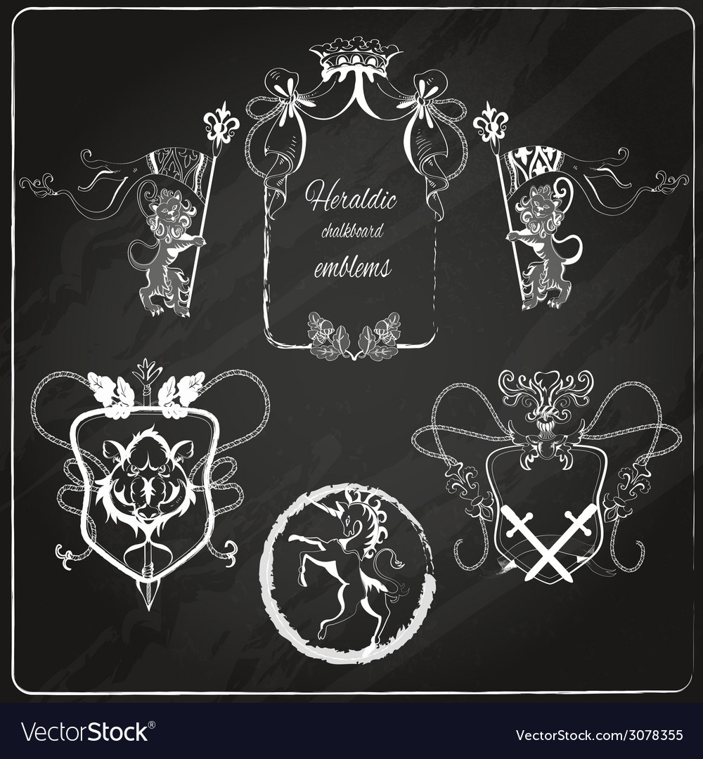 Heraldic emblems set vector | Price: 1 Credit (USD $1)