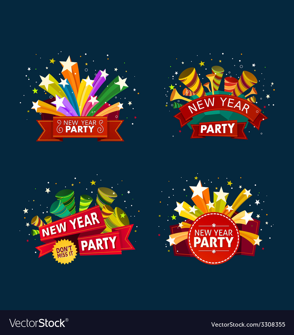 New year party event tittle vector | Price: 1 Credit (USD $1)