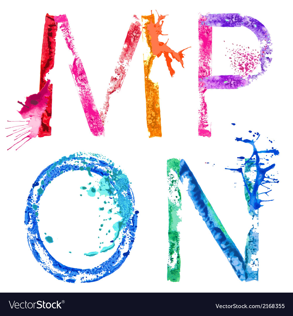 Paint splash font mnop vector | Price: 1 Credit (USD $1)