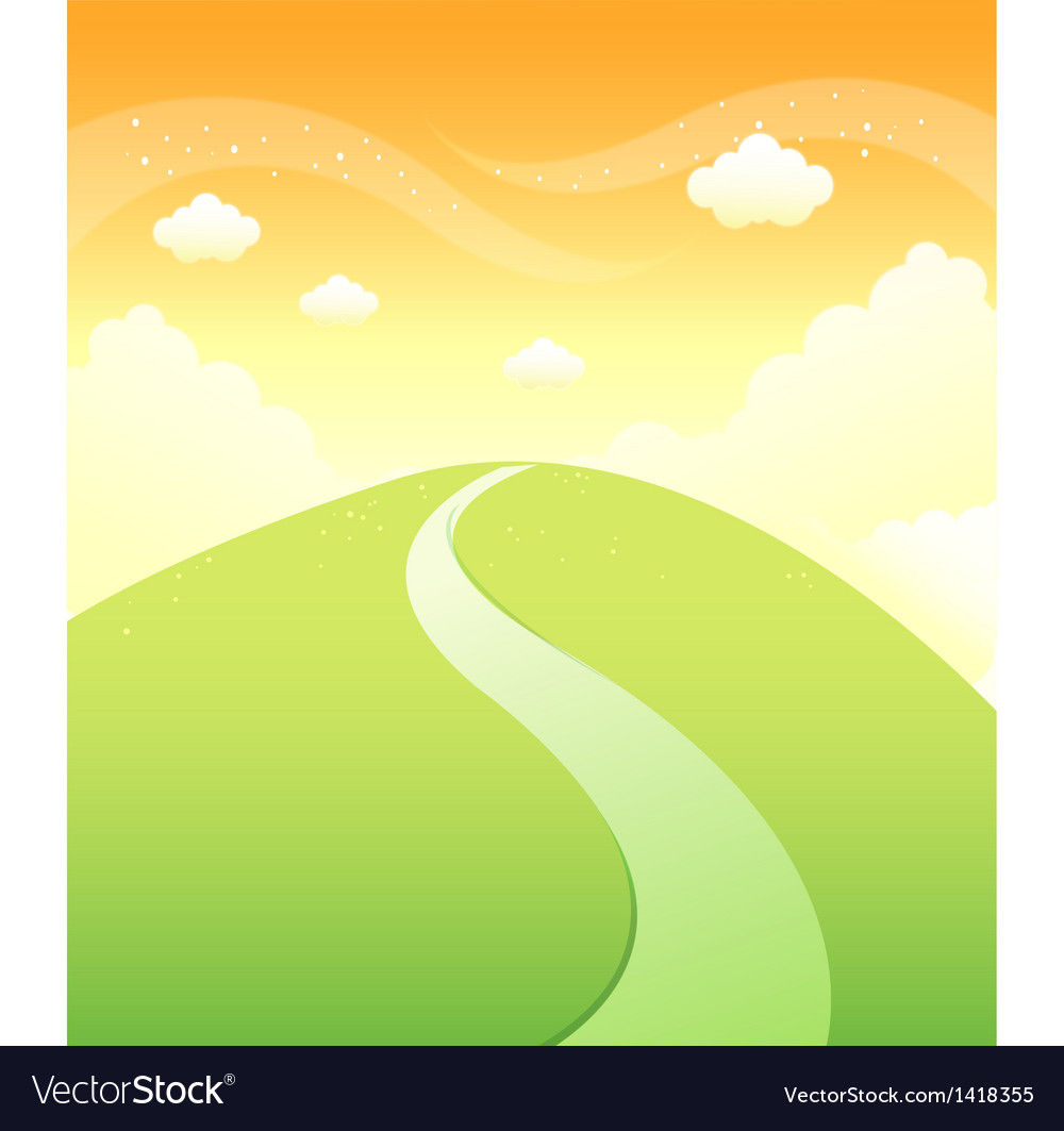 Path over mountain sky vector | Price: 1 Credit (USD $1)