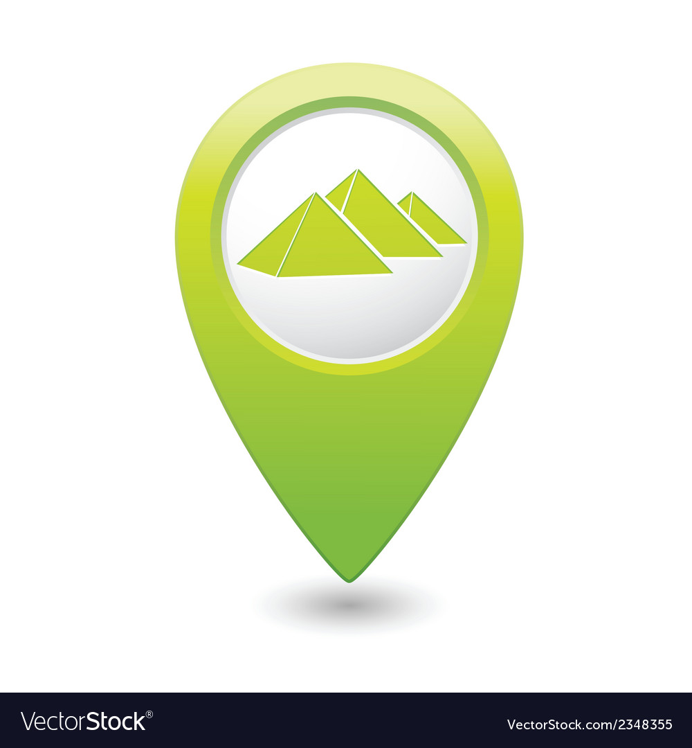 Pyramid icon on map pointer green vector | Price: 1 Credit (USD $1)
