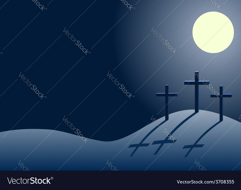 Three crosses on calvary at night vector | Price: 1 Credit (USD $1)