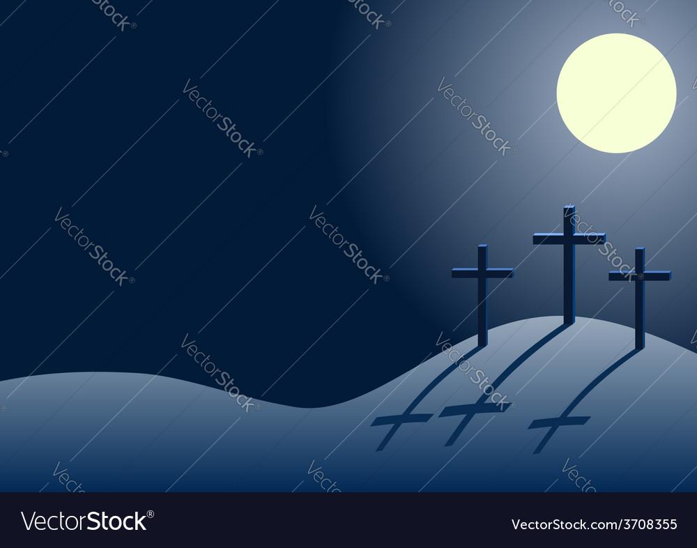 Three crosses on calvary at night vector | Price: 1 Credit (USD $1)