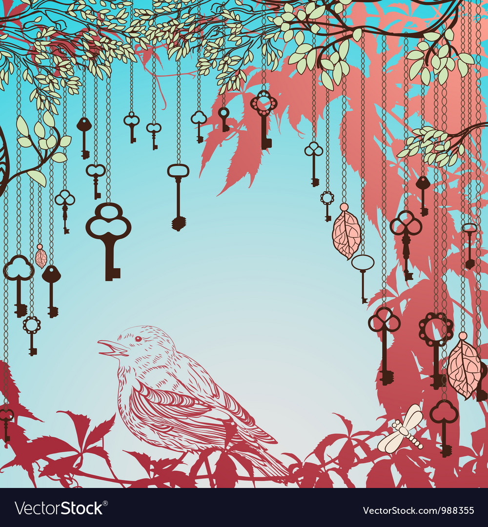 Vintage card with sparrow and keys vector | Price: 1 Credit (USD $1)