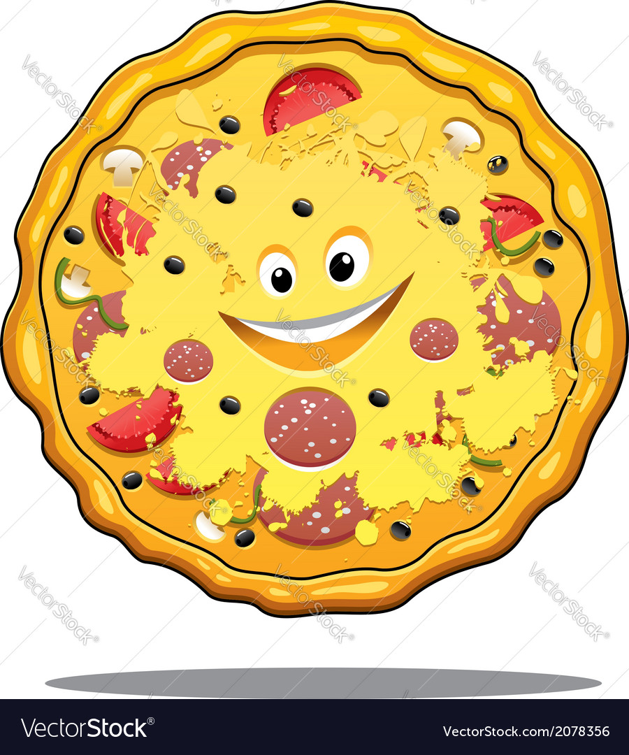 Cartoon pepperoni pizza vector | Price: 1 Credit (USD $1)
