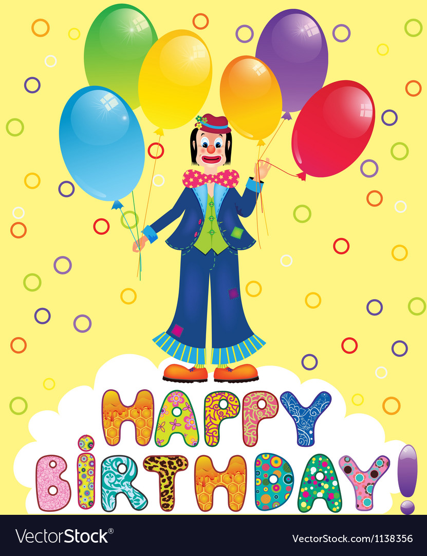 Clown with festive balloons vector | Price: 1 Credit (USD $1)