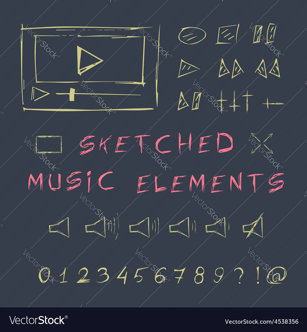 Doodle hand drawn music elements set sketch vector | Price: 1 Credit (USD $1)