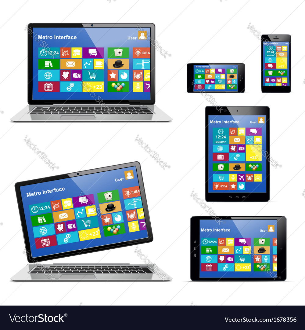 Electronic devices with metro icons vector | Price: 1 Credit (USD $1)