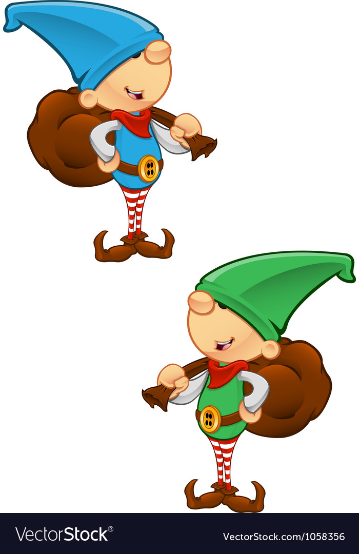 Elf mascot holding a sack vector | Price: 1 Credit (USD $1)
