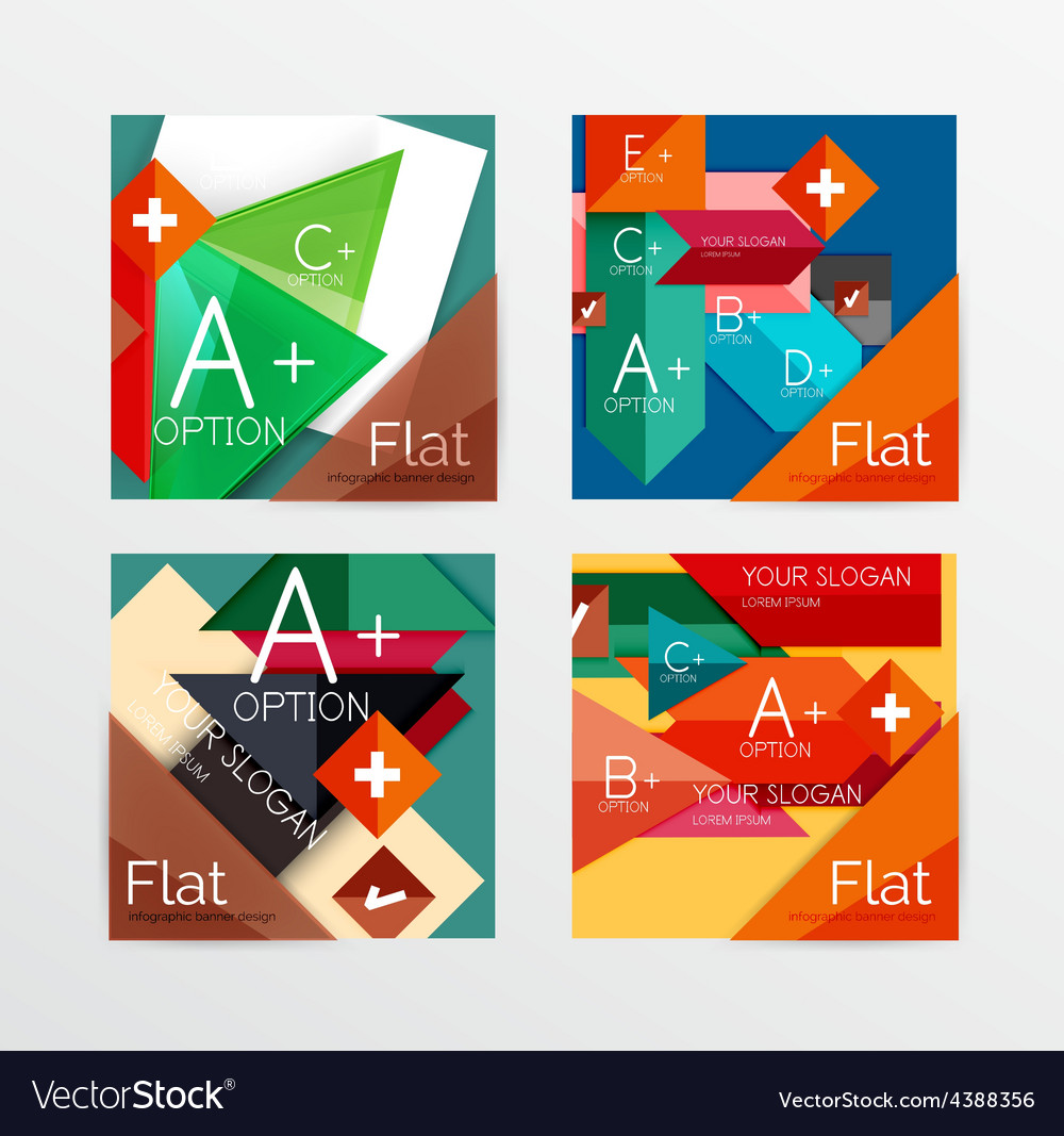 Modern paper info banner layout set vector | Price: 1 Credit (USD $1)