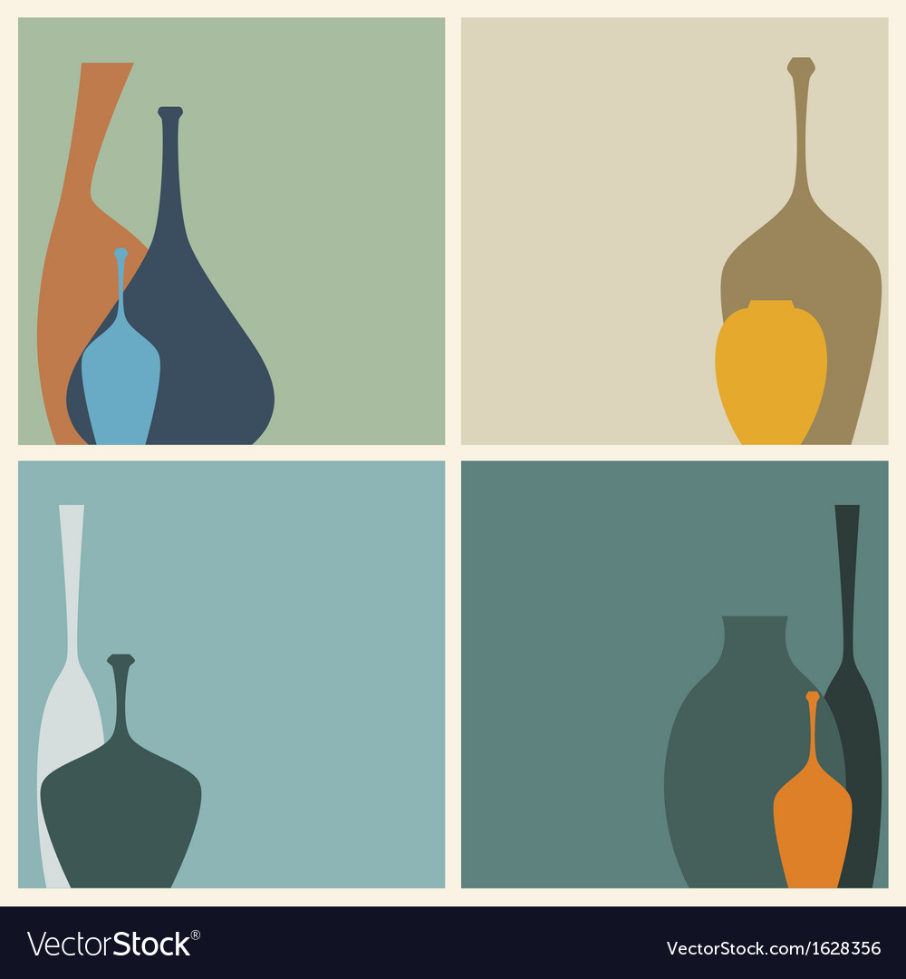 Retro of abstract vases decorated vector | Price: 1 Credit (USD $1)