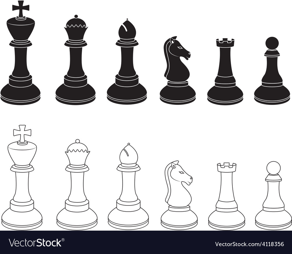 Set of chess icons in black and white vector | Price: 1 Credit (USD $1)