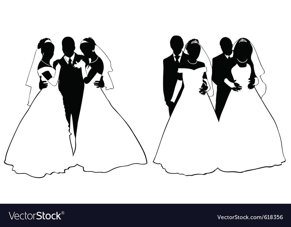 Wedding couple silhouette vector | Price: 1 Credit (USD $1)