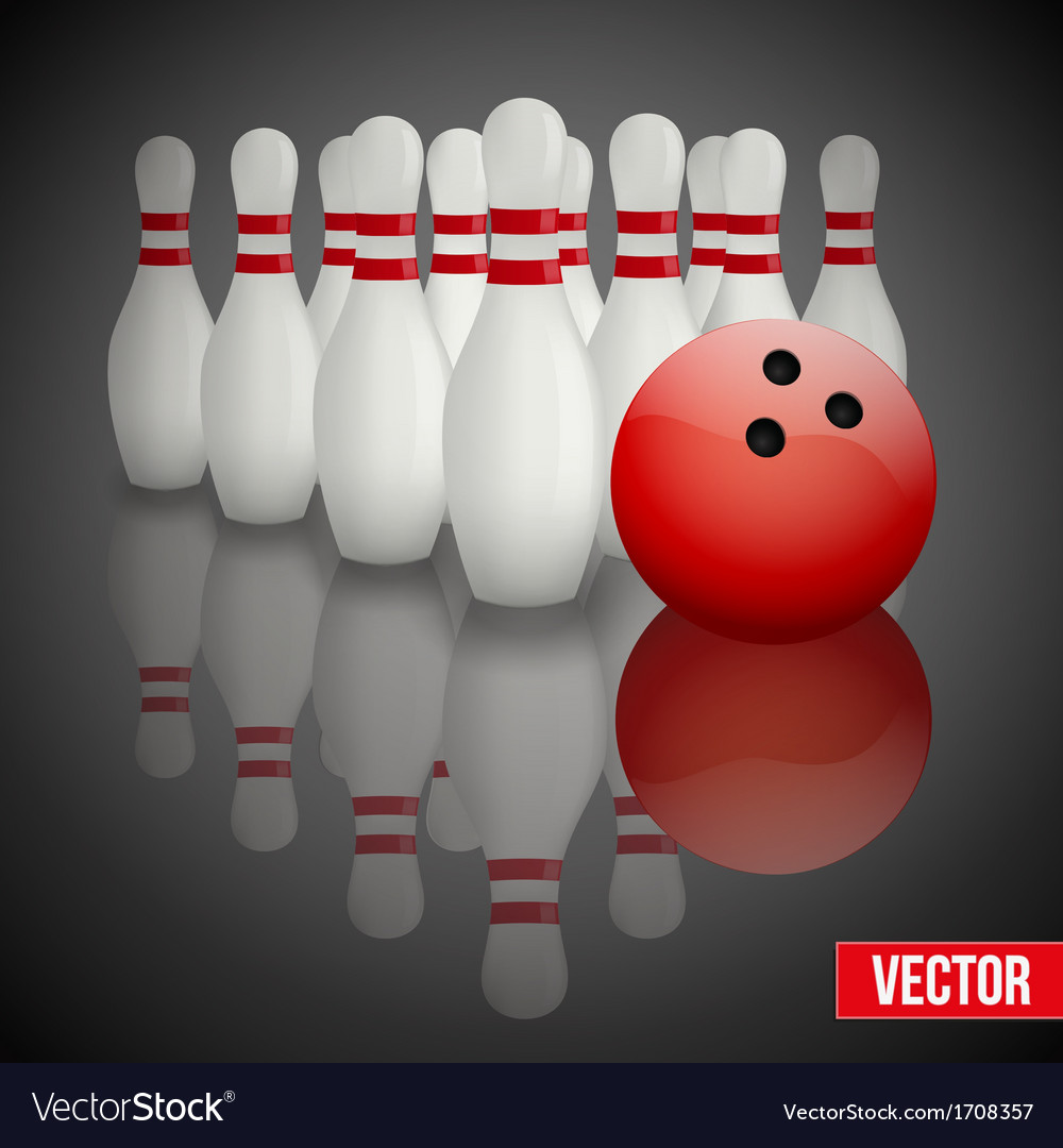 Bowling pins and ball with reflection vector | Price: 1 Credit (USD $1)