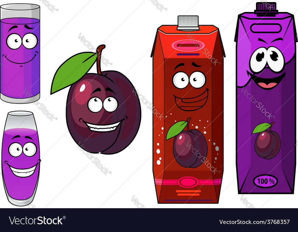 Cartoon plum with drinks containers vector | Price: 1 Credit (USD $1)