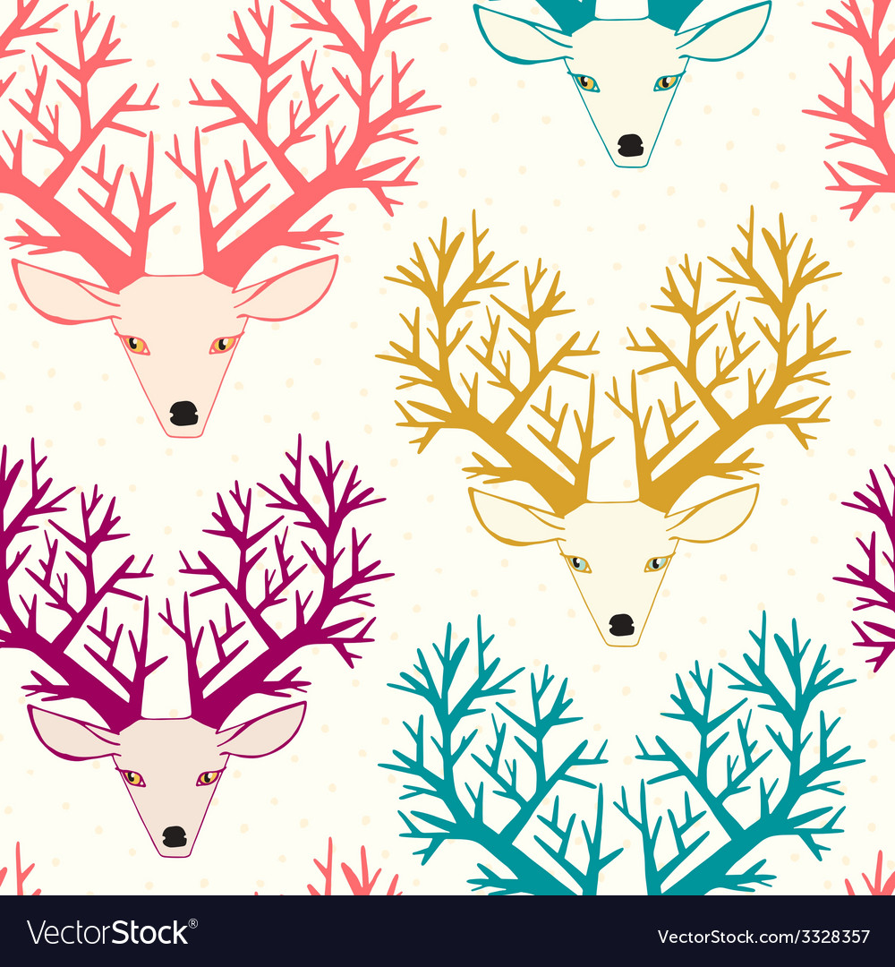 Cute seamless pattern with deers vector | Price: 1 Credit (USD $1)