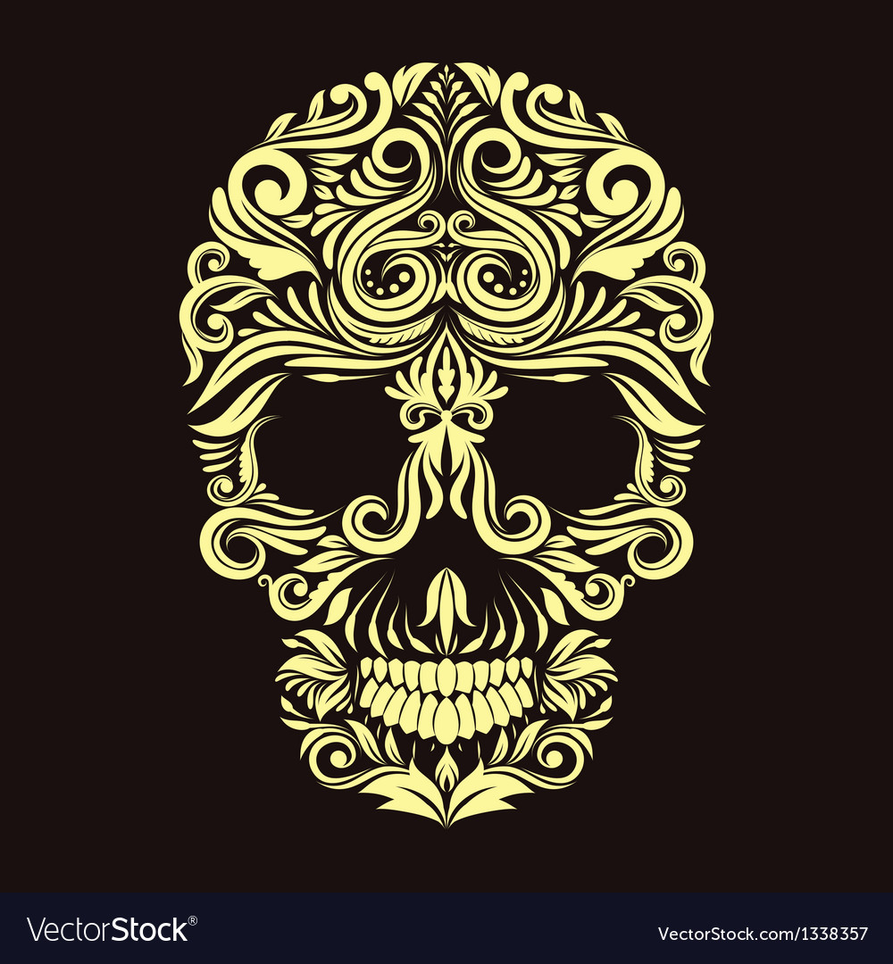 Dark brown ornament skull vector | Price: 1 Credit (USD $1)