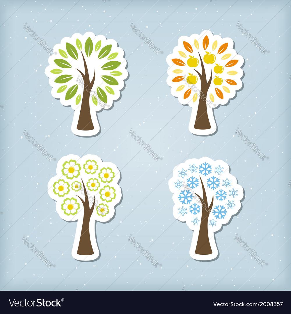 Four season tree icons vector | Price: 1 Credit (USD $1)