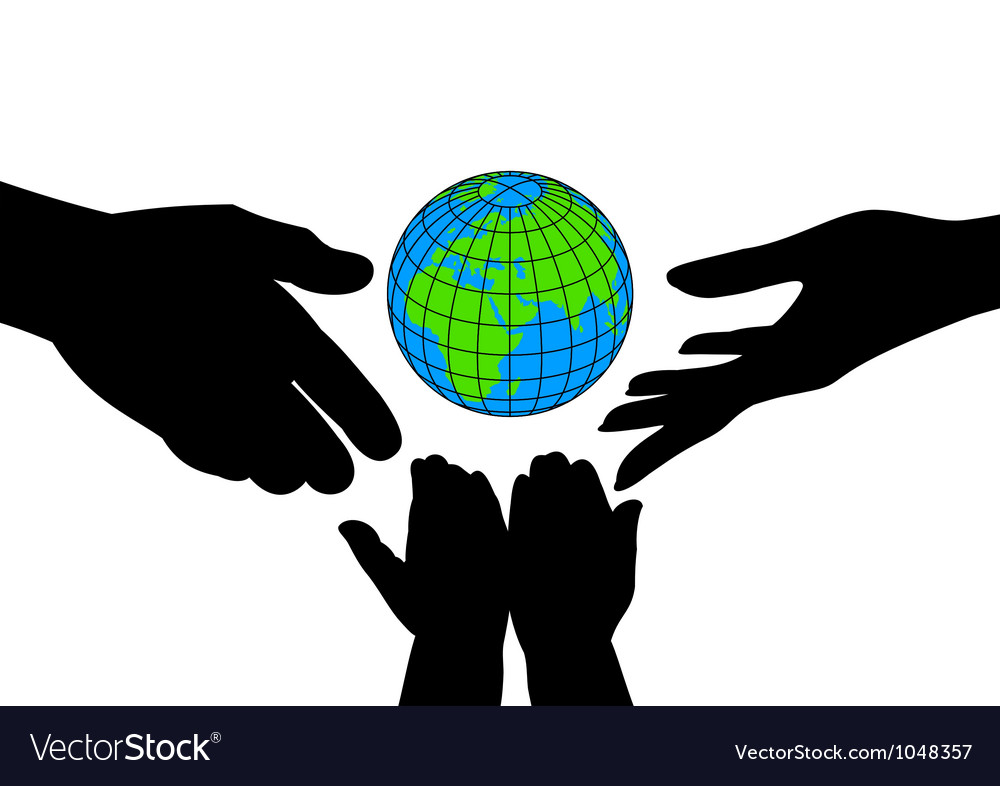 Icon silhouettes of hands and the planet vector | Price: 1 Credit (USD $1)