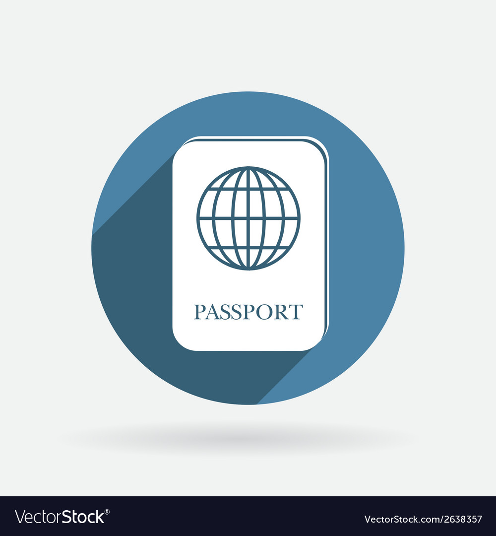 International passport circle blue icon with vector | Price: 1 Credit (USD $1)