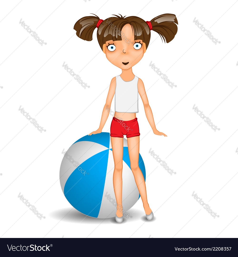Little girl with ball wearing shorts and t-shirt vector | Price: 1 Credit (USD $1)