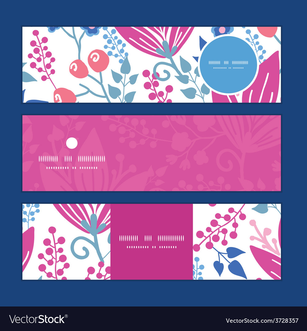 Pink flowers horizontal banners set pattern vector | Price: 1 Credit (USD $1)