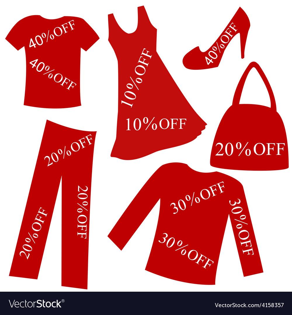 Red clothing with sale percent discount vector | Price: 1 Credit (USD $1)