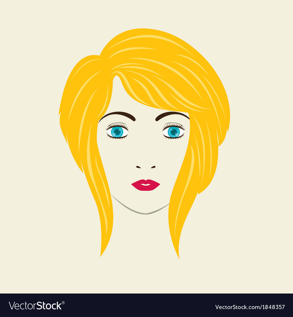 Severe angled stacked bob woman hair style vector | Price: 1 Credit (USD $1)