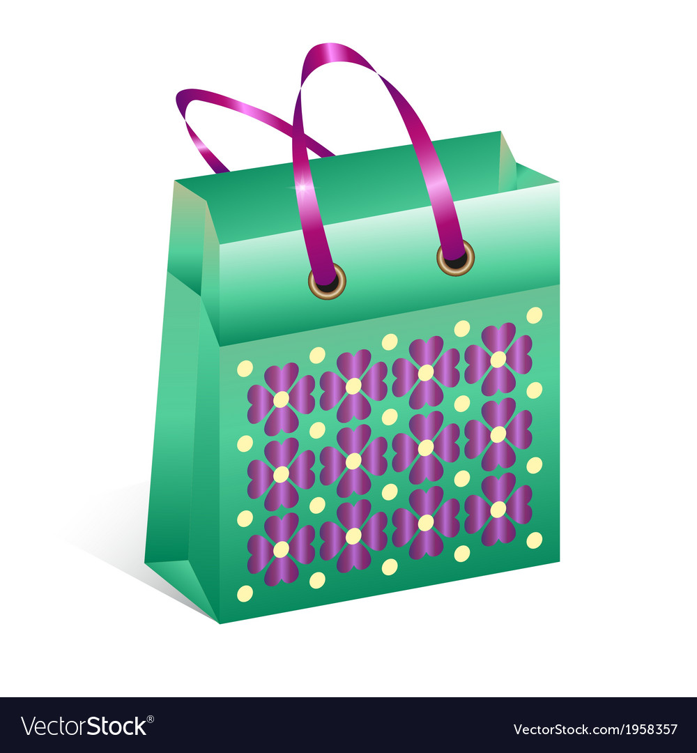 Shopping bag with spring motive vector   Price: 1 Credit (USD $1)
