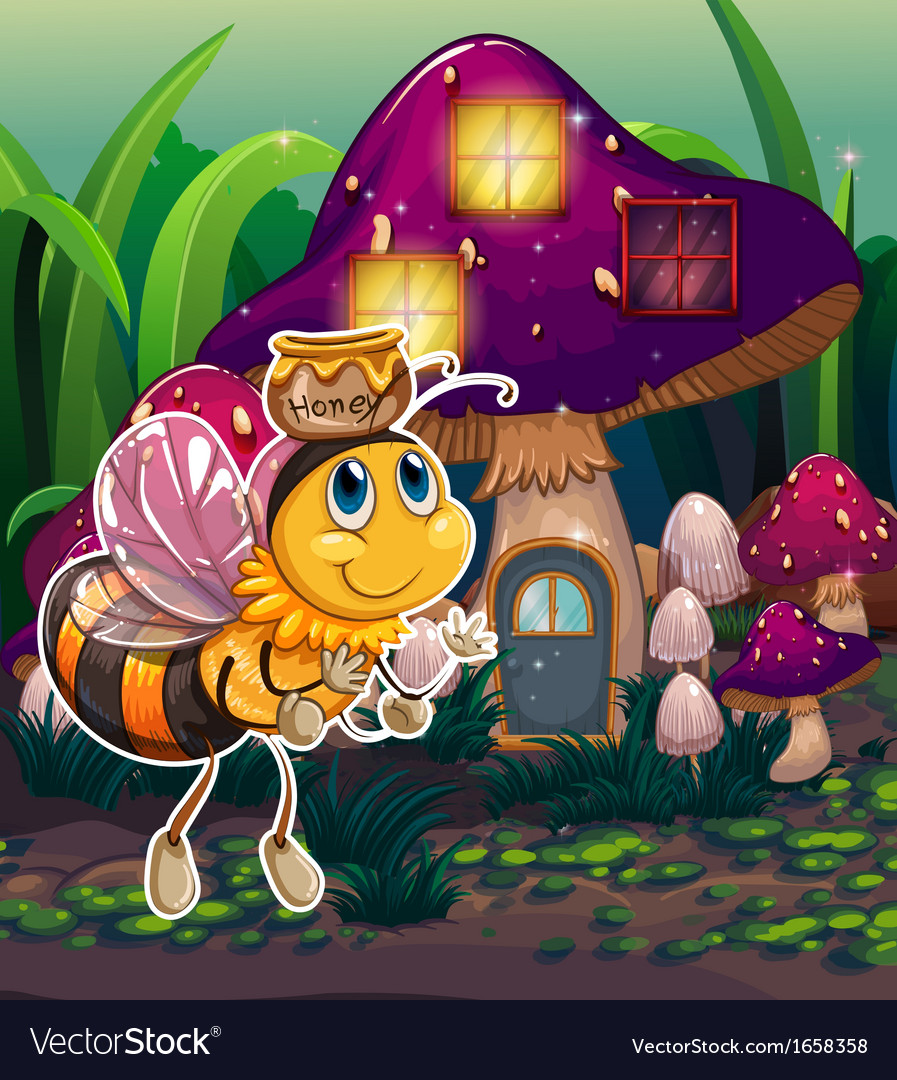 A flying bee near the enchanted mushroom house vector | Price: 3 Credit (USD $3)