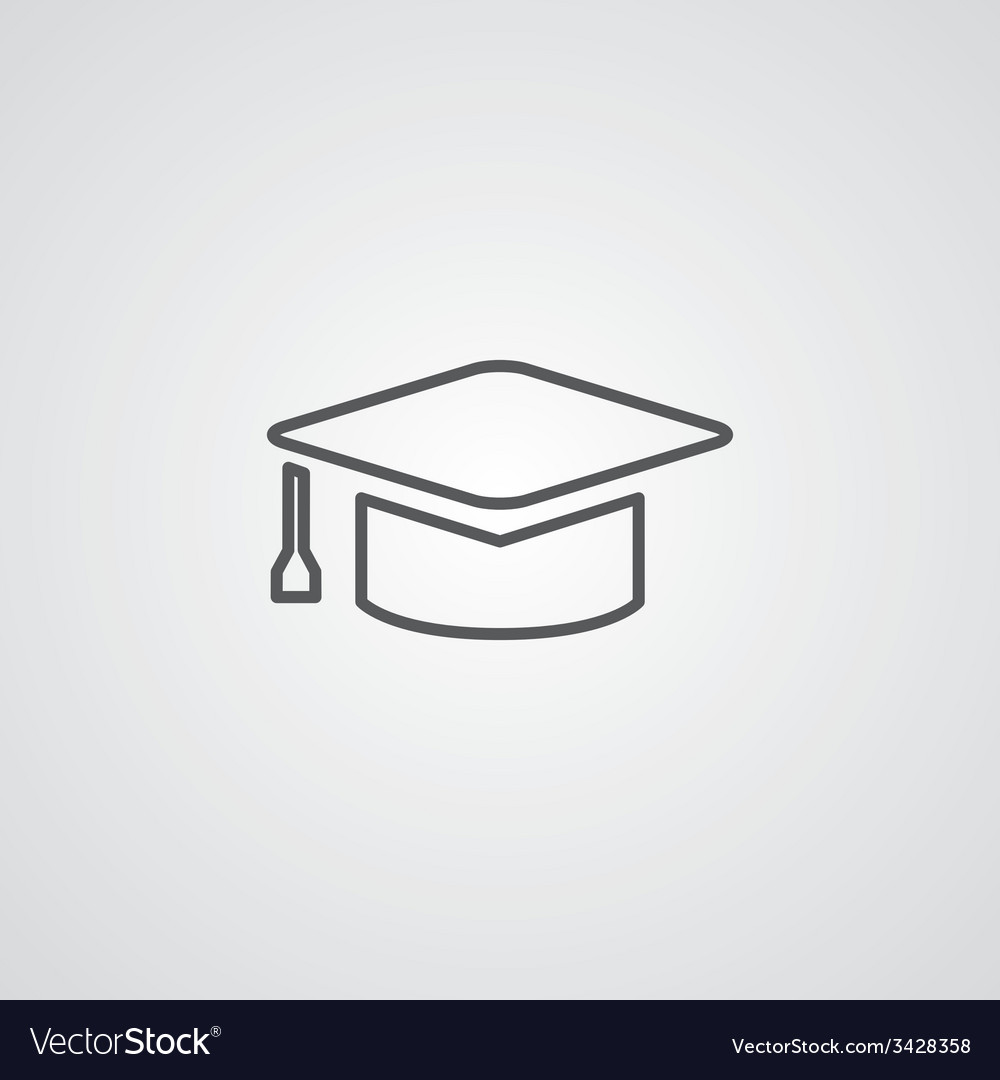Education outline symbol dark on white background vector | Price: 1 Credit (USD $1)
