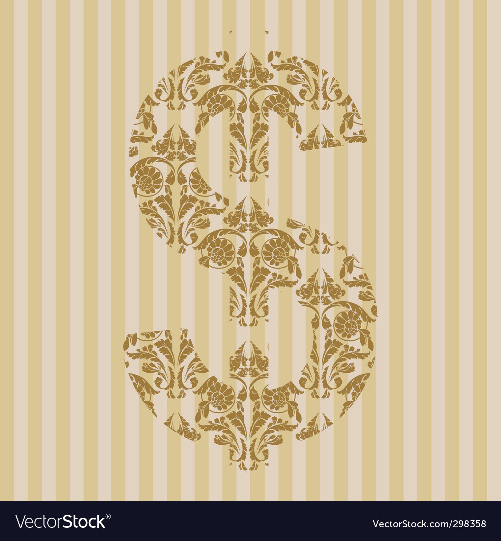 Floral font symbol vector | Price: 1 Credit (USD $1)